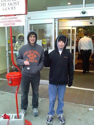 Ringing Salvation Army Bell w/ Classmate