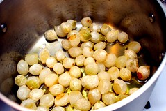 pearl onions, lightly browning