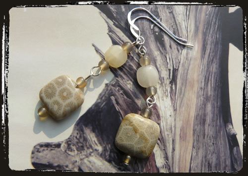 Orecchini beige - Light brown earrings AMHDPBQ