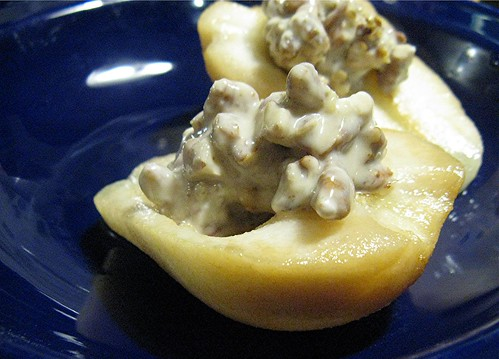 baked pears with nut-sour cream filling