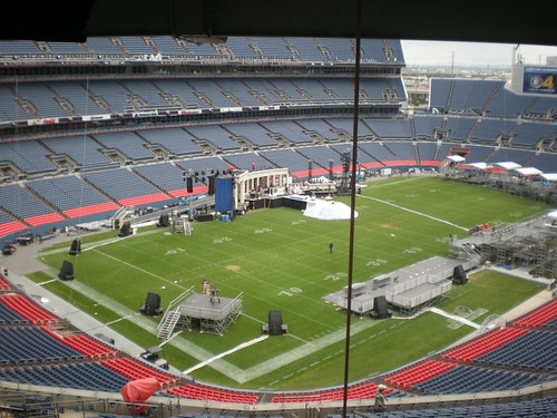 Invesco Field at Mile High as it appears Tuesday, August 26, 2008, two days before Democratic presidential hopeful Barack Obama will accept the partys nomination there. (Photo by Jim Carroll, Congressional Quarterly)
