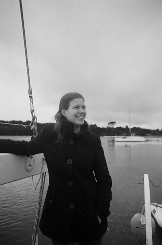 Robyn at sea in black and white