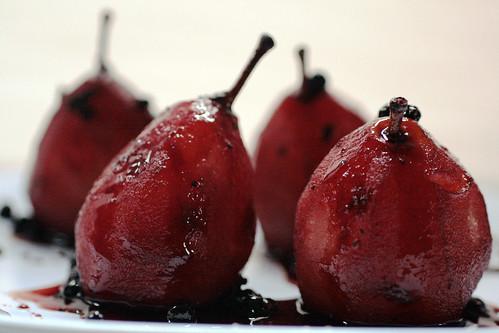 Juniper Scented Pears in Red Wine