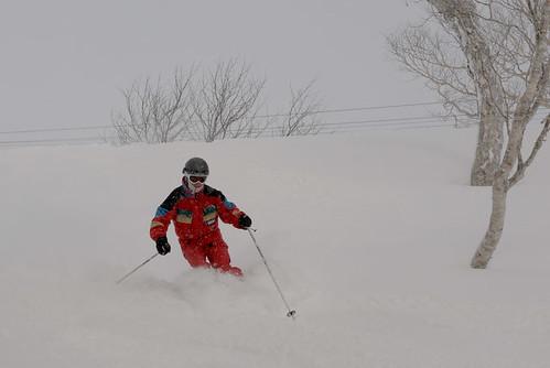 Paul skiing fresh tracks