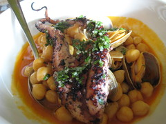 Octopus with clams and chick peas