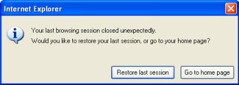 internet explorer 8 session restore