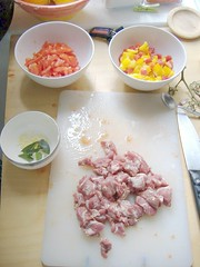 Ingredients for lamb and sweet pepper sauce
