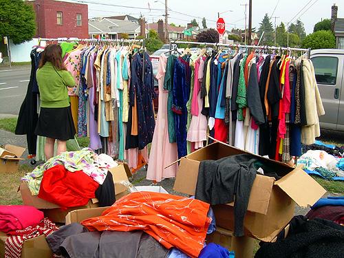 Big ol' rack of vintage clothes