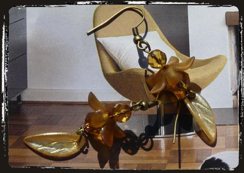 Orecchini gialli - Yellow Lucite flowers earrings MEHILGL