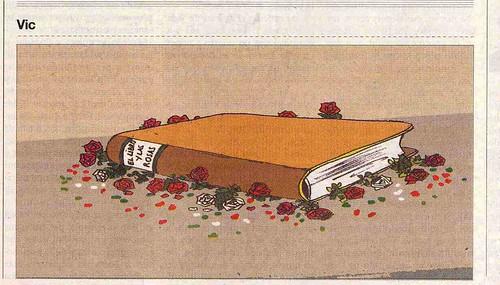 Biblioteca Cordoba Rosaleda. Rosas que aplastan libros.