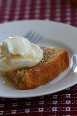 Pound cake with syrup and greek yogurt