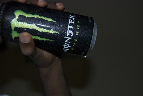 drinking my pre-workout monster (free plug)