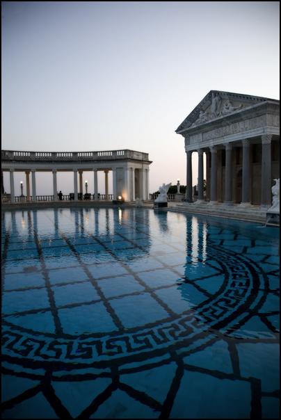 Neptune pool at sunset