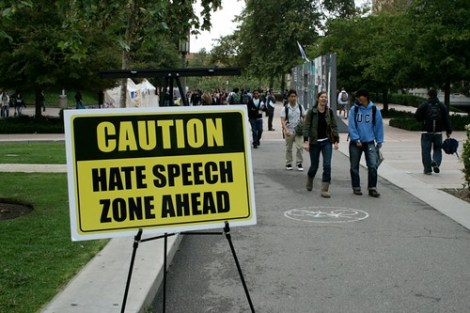 hate speech zone caution sign
