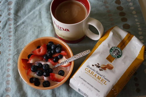 greek yogurt with berries, Starbucks caramel coffee