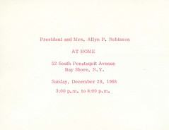 Invitation to Dr. Allyn Robinsons Holiday Party at their home in Bay Shore