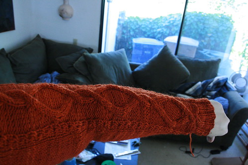 The sleeve to the Mrs newest sweater. He picked out the cable & Im really enjoying it.
