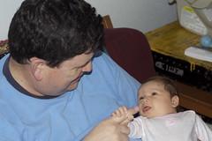 Grandpa Kevin makes eye contact.