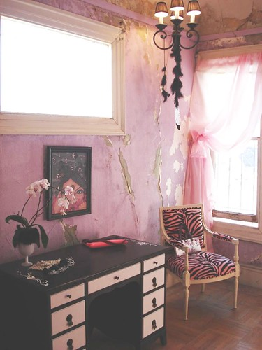 black desk with Pink Zebra Chair