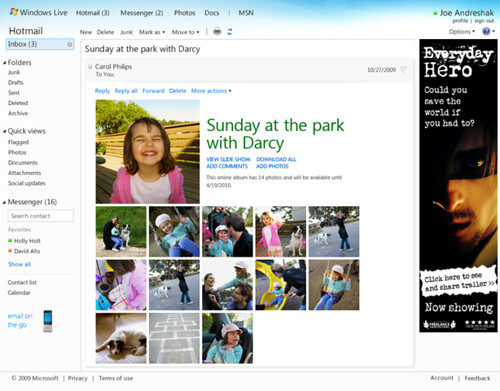 Photo mail in Hotmail Wave 4