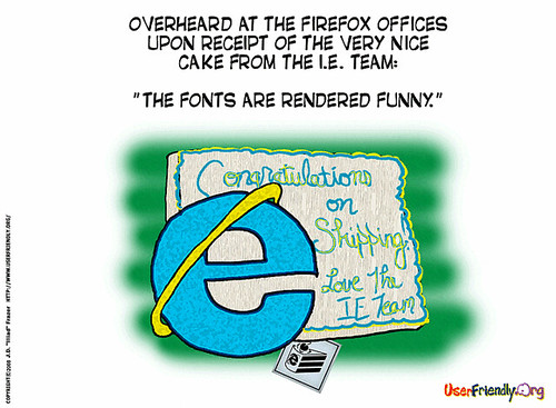 User Friendly Comic on IE Cake