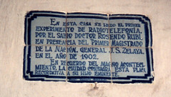 Plaque in honor of Rosendo Rubis radio experiments in 1902, at his house in Leon, Nicaragua