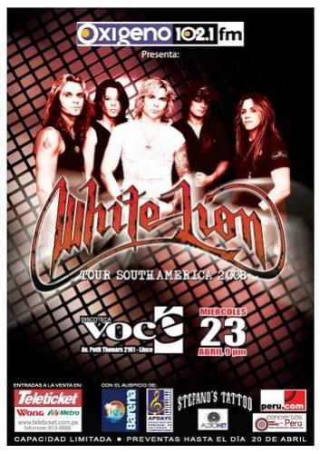 White Lion afiche concierto Lima