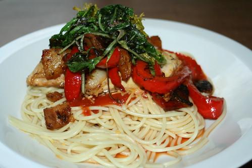 local free-range chicken, braising greens, spaghetti, turnips, onions, red peppers, and a splash of marinara