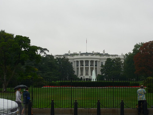 The White House under the clouds and rain