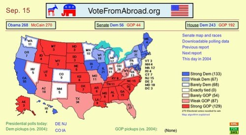 Today's electoral vote map