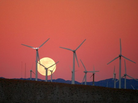 Moon Rise behind the San Gorgonio Pass Wind Farm - Photo : Caveman 92223