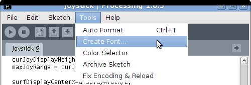 Processings Tools-Create Font... selection