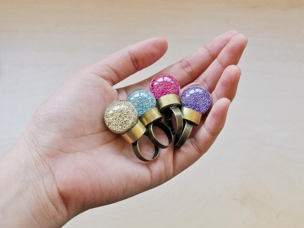 Summery pastel microbead globe rings