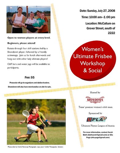 Women's Ultimate Clinic - Austin - 7/27/08