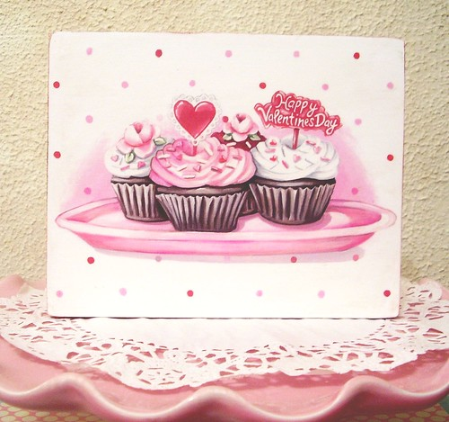 """She's also selling this cute Valentine's Day cupcake 5"""" 1/2 x 7"""" x 3/4"""" wood"""