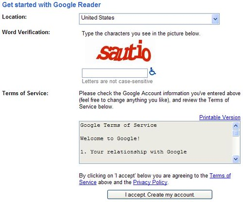 Google Reader - Create Account Info 2