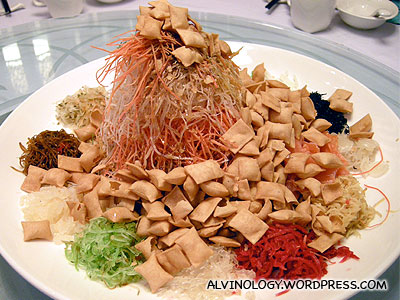 Mixed and ready for Lo Hei