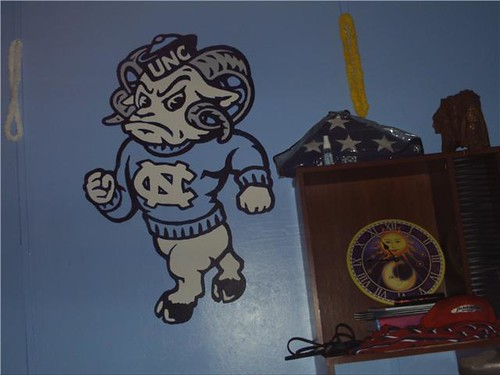 Me and my buddy put this up on his kids wall over the Thanksgiving holiday. It was the centerpiece of a total UNC tarheel makeover for the room. Frankly, we are awesome.
