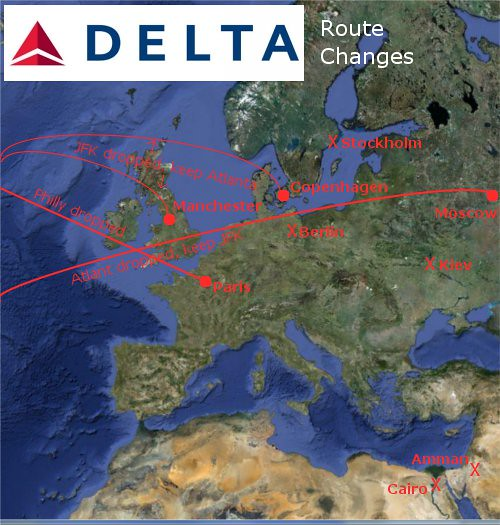 Delta Fall Europe Route Changes