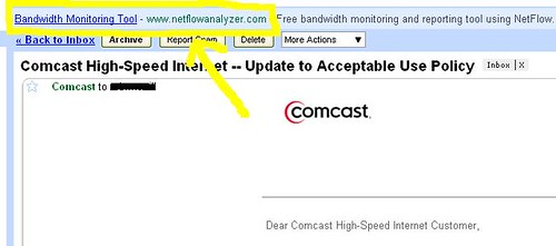 Above this email from Comcast explaining how un-evil they are, Google placed an ad for Bandwidth Monitoring. Google knows what you *meant* to say.