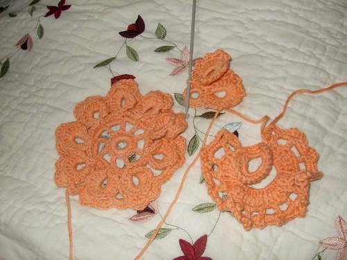 Orange Irish crochet motifs