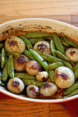 Ginger-Roasted peas and onions