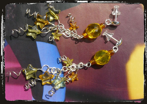 Orecchini gialli con stelle - Yellow stars earrings MEHFGSS