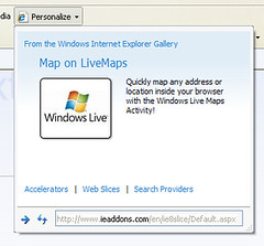 internet explorer 8 web slices