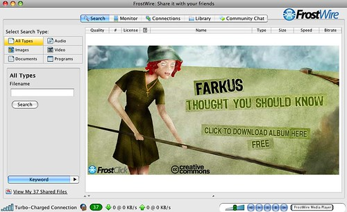 Farkus on the FrostWIre Welcome Screen