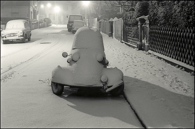 Messerschmitt in the snow: Anfield, Liverpool c1967