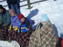 kids keeping warm