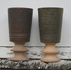 Pair of stoneware goblets