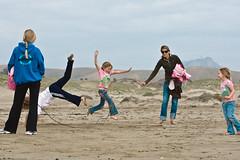 Kids play skiprope on Morro Strand State Beach