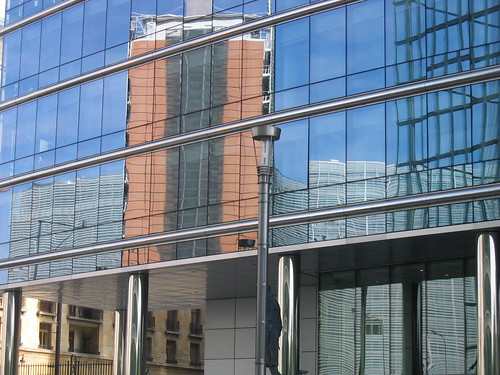 The Berlaymont reflected in the Lex building, Brussels